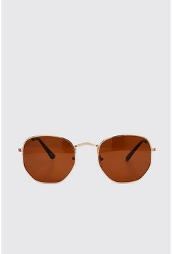 Brown Hexagon Sunglasses