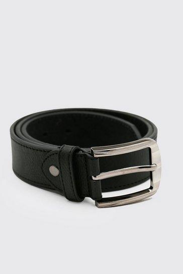 Black Split Leather Textured Belt