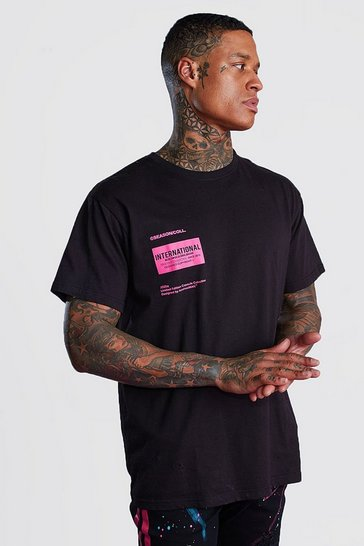 Black Oversized MAN International Printed T-Shirt