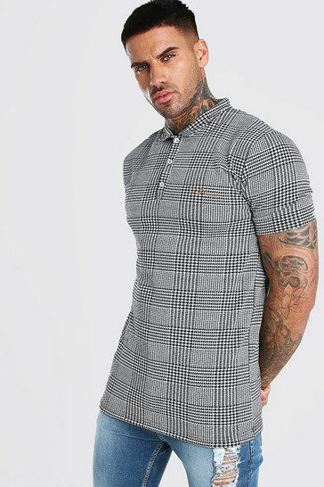 Black MAN Signature Muscle Fit Houndstooth Polo
