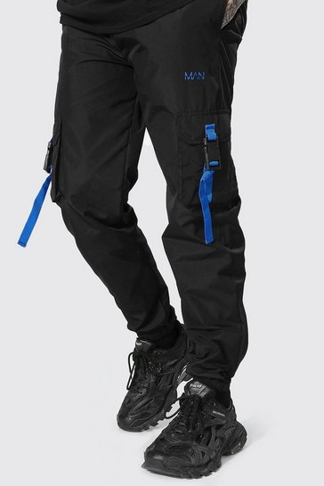 Black Cargo Trouser With Straps