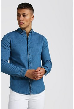 Light blue blue Muscle Fit Long Sleeve Denim Shirt
