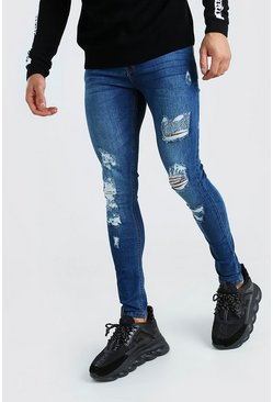 Mid blue blue Super Skinny Jeans With All Over Rips