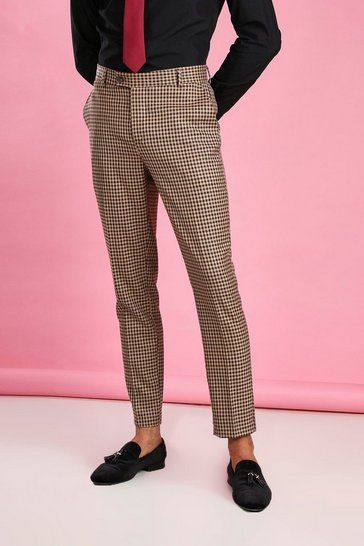 Taupe beige Skinny Heritage Dogtooth Check Suit Trouser