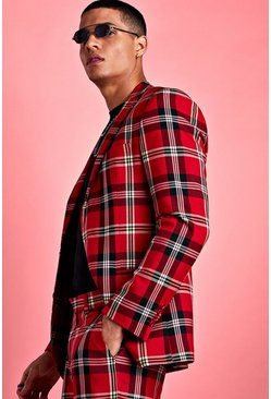Red Skinny Bold Check Suit Jacket