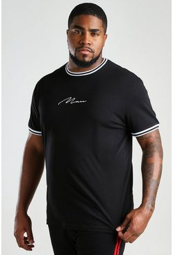 Black Plus Size MAN Signature Sports Cuff T-Shirt