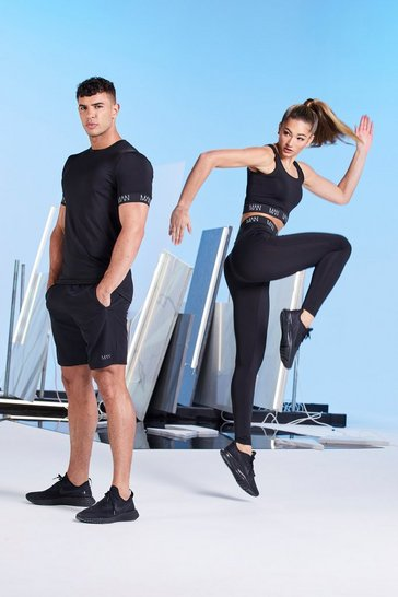 Black Hers Active Compression Tight With Reflective
