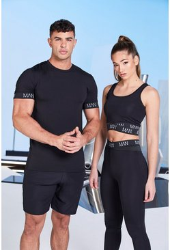 Zwart black His Active Muscle Fit t-Shirt Met Zoomdetail