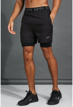 His Active mittellange 2-In-1 Shorts mit MAN-Bund, Schwarz