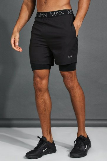 Black Active Mid 2-In-1 Short With MAN Waistband