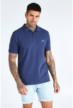 Navy MAN Signature Short Sleeve Pique Polo
