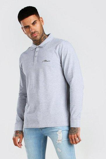 Grey MAN Signature Long Sleeve Pique Polo