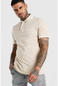 Taupe beige Crown Embroidered Tipped Pique Polo
