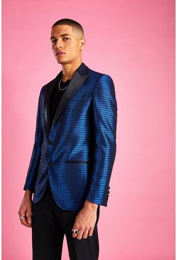 Cobalt blue Skinny Dogtooth Check Prom Jacket