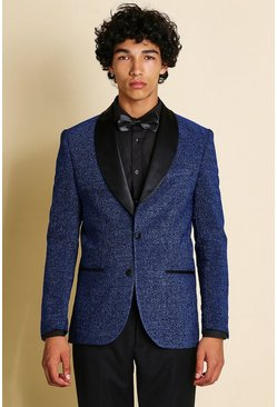 Navy Skinny Prom Blazer With Shawl Collar