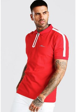 Red MAN Signature Tech Zip Polo With Sleeve Tape