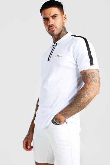 White MAN Signature Tech Zip Polo With Sleeve Tape