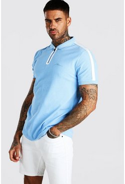 Blue MAN Signature Tech Zip Polo With Sleeve Tape