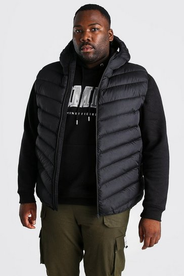 Black Plus Size Quilted Zip Gilet With Hood