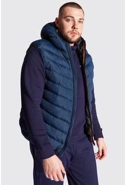 Navy Big And Tall Quilted Zip Gilet With Hood