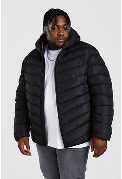 Black Big And Tall Quilted Zip Jacket With Hood