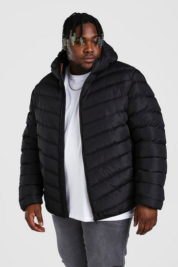 Black Plus Size Quilted Zip Jacket With Hood