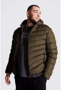 Khaki Plus Size Quilted Zip Jacket With Hood