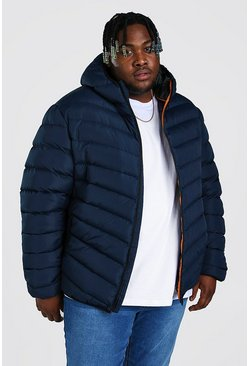 Navy Big And Tall Quilted Zip Jacket With Hood