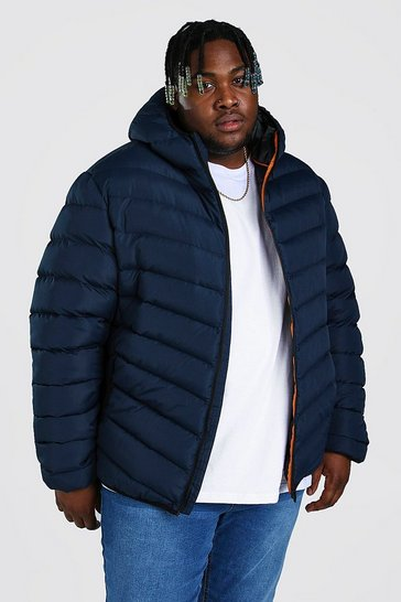Navy Plus Size Quilted Zip Jacket With Hood