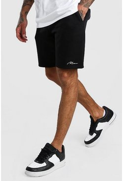 Short Man mi-long en jersey signature, Noir