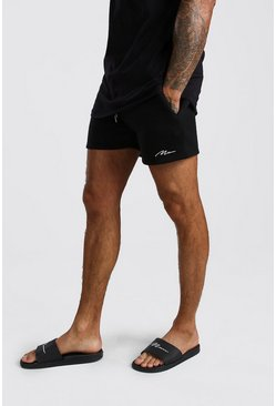 Zwart black Man Signature Korte Jersey Shorts