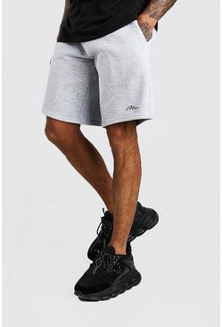 Grey marl grå Man Signature Basketshorts i jersey