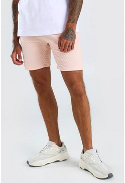 Sand beige Waffle Mid Length Jersey Shorts