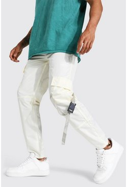 Ecru white Multi Panel Cargo Trouser