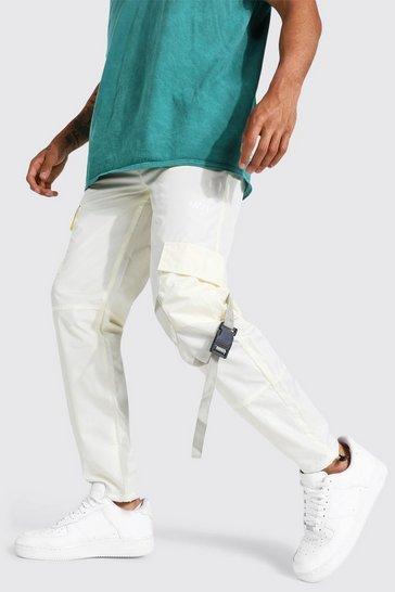 Ecru white Multi Panel Cargo Trouser