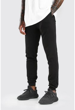 Black Waffle Skinny Fit Jogger With Cuff