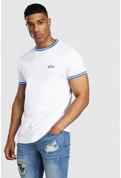 White Original MAN T-Shirt With Sports Rib Neck & Cuff