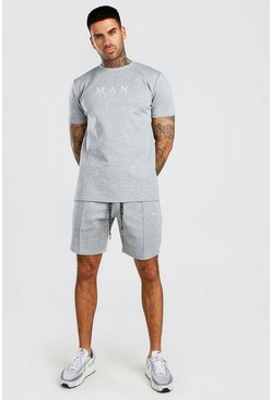 Grey MAN Scuba T-Shirt & Pintuck Short Set