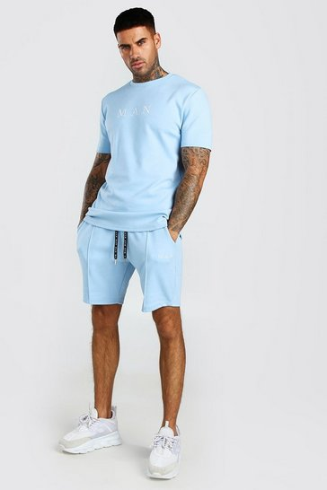 Dusty blue blue MAN Scuba T-Shirt & Pintuck Short Set