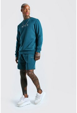 Teal green Scuba MAN Sweater & Pintuck Short Set