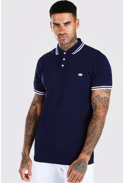 Navy Crown Embroidered Tipped Pique Polo