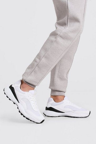 White Hiker Sole Panelled Trainer