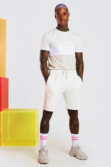 Ecru white MAN Official Colour Block Short Set