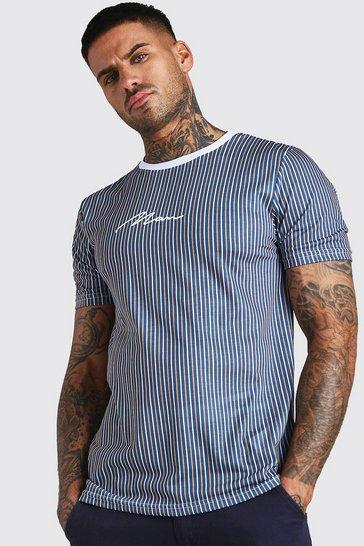 Navy MAN Signature Vertical Stripe T-Shirt