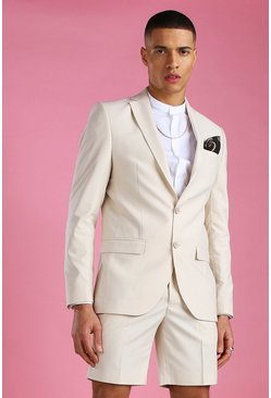 Ecru Skinny Plain Suit Jacket