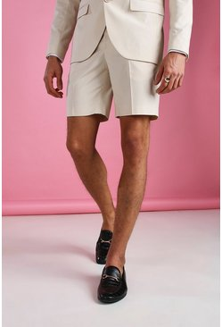 Ecru white Skinny Plain Tailored Suit Shorts