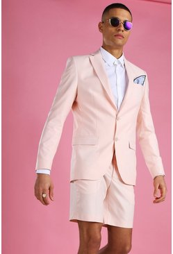 Light pink Skinny Plain Suit Jacket