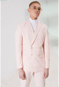 Light pink pink Skinny Plain Double Breasted Suit Jacket