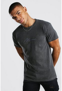 Charcoal grey MAN Signature Overdyed T-Shirt