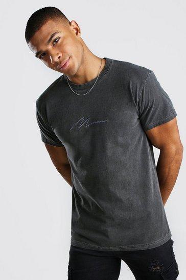 Charcoal grey MAN Signature Overdyed T-Shirt